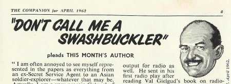 Don't Call Me A Swashbuckler - The Companion (April 1962)
